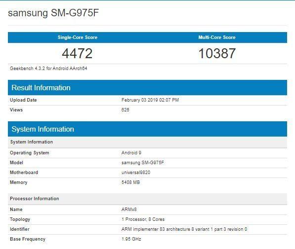 Samsung Galaxy S10+ Exynos 9820 Geekbench