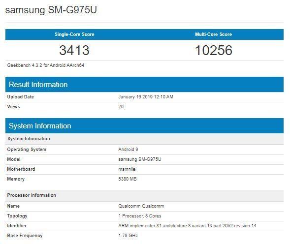 Samsung Galaxy S10+ Snapdragon 855 Geekbench