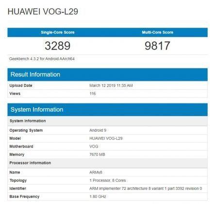 Huawei P30 Pro в Geebench