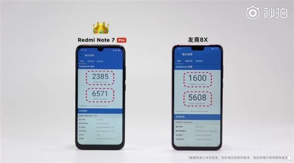 Redmi Note7 Pro против Honor 8X в GeekBench
