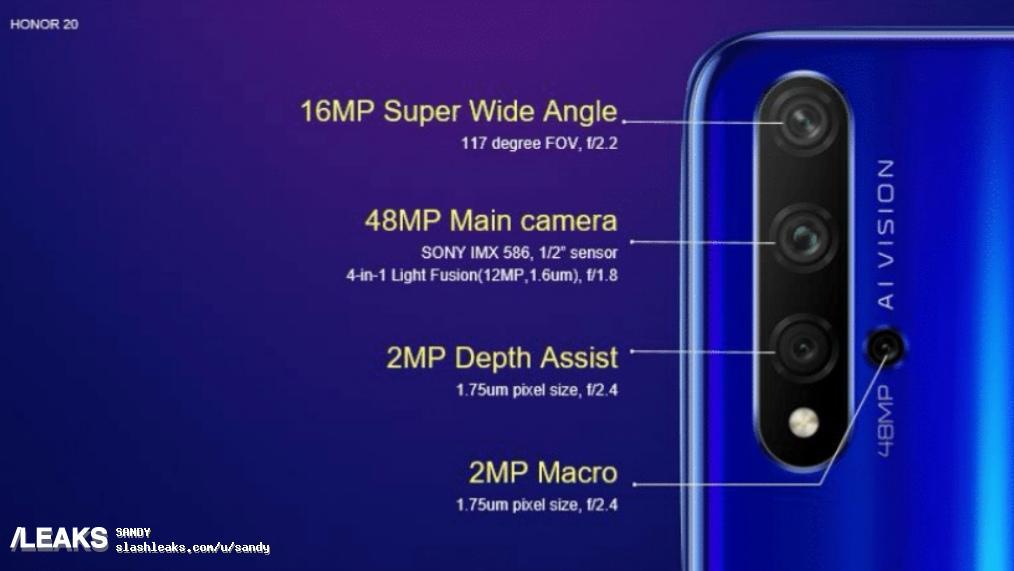 Honor 20 - спецификации камер