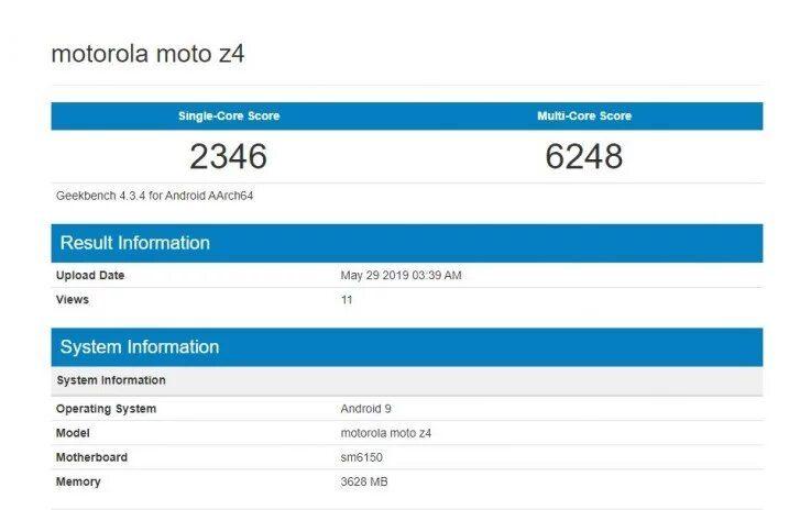 Moto Z4 в GeekBench