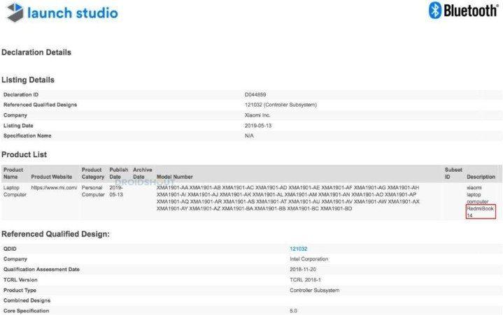 RedmiBook на странице сертификации Bluetooth