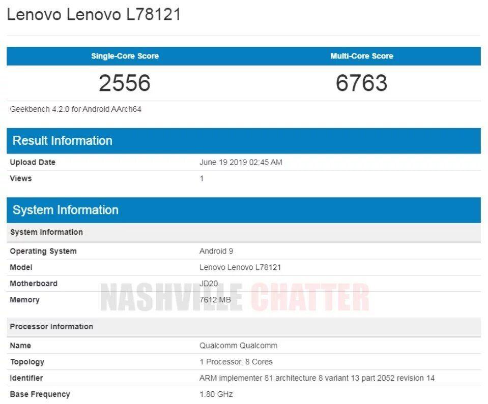 Lenovo Z6 - Geekbench