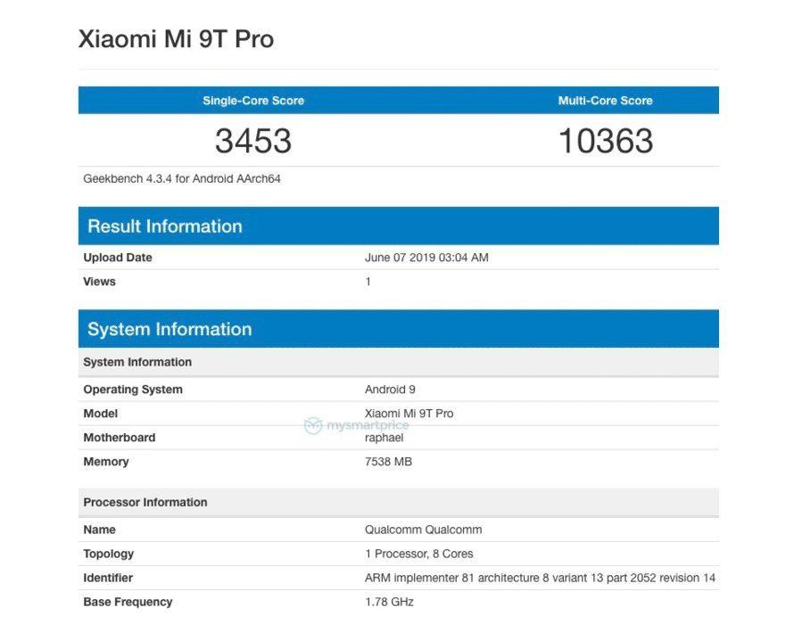 Xiaomi Mi 9T Pro в Geekbench