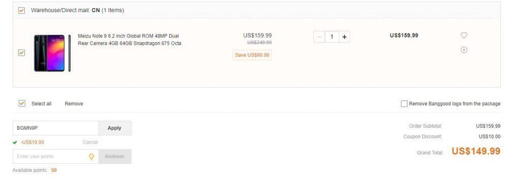 Meziu Note 9 в продаже с купоном