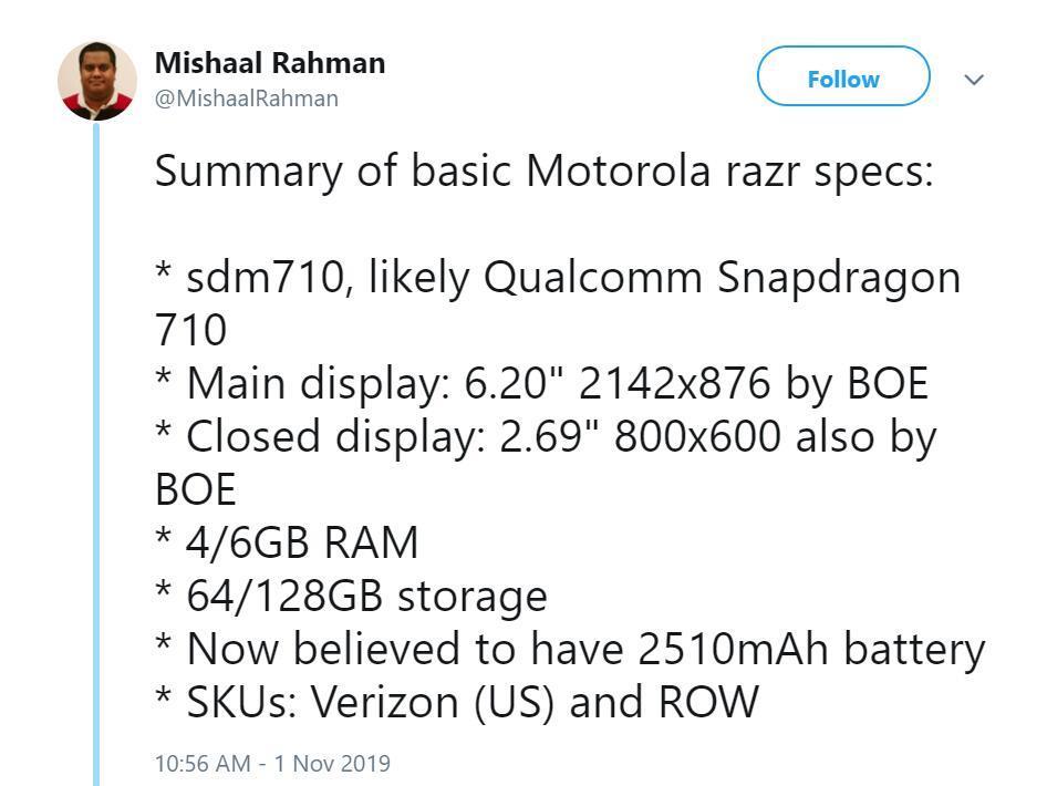 Технические характеристики Moto Razr 2019
