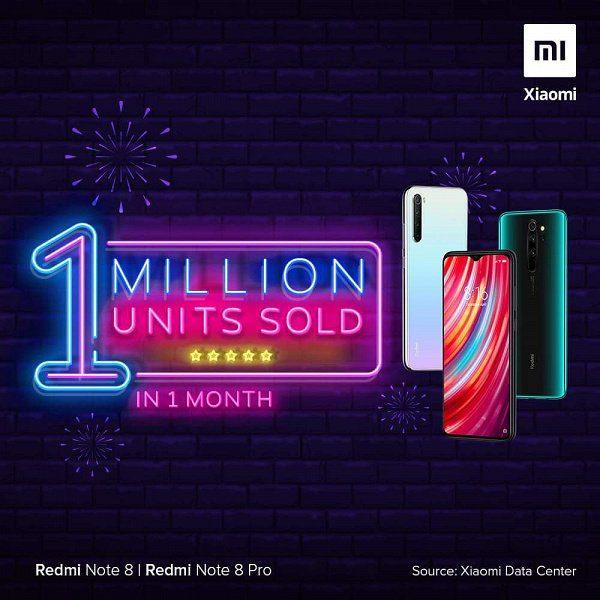 Продажи Redmi Note 8 и версии Pro преодолели миллионный рубеж