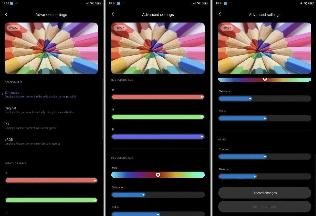 В MIUI 11 появится более удобная настройка цветопередачи