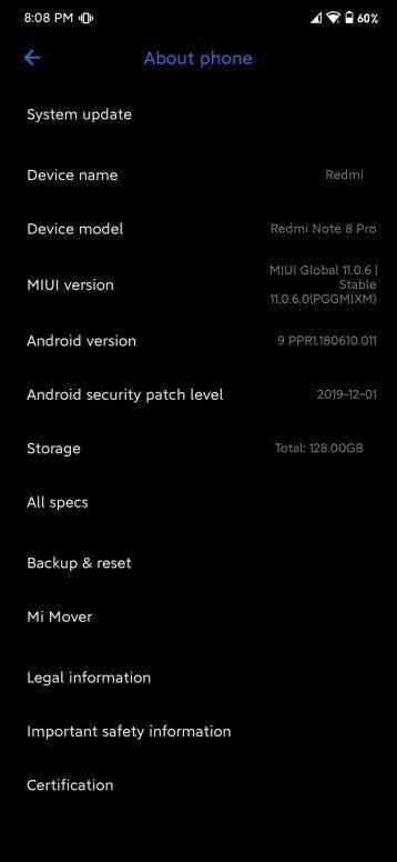 Второе обновление прошивки MIUI 11 для Redmi Note 8 Pro