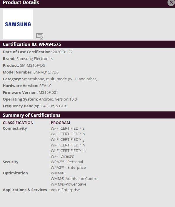 Samsung Galaxy M31 прошел сертификацию