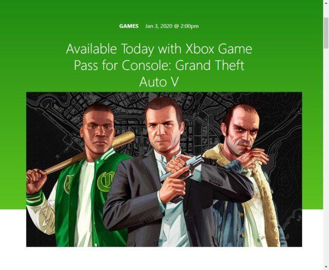 Grand Theft Auto V станет доступна бесплатно только для владельцев Xbox
