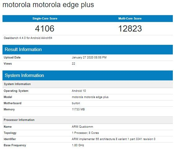 Motroola Edge Plus в Geekbench