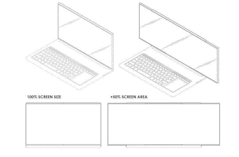 На чертежах патента Samsung ноутбук увеличивает рабочий стол в два раза