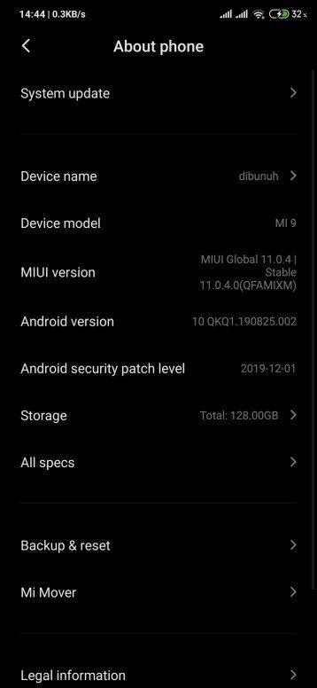бета-обновление прошивки MIUI 11 в Xiaomi Mi 9