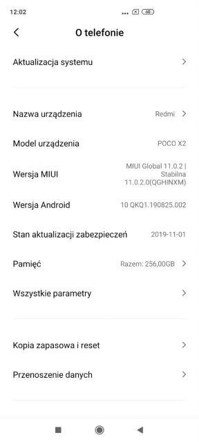 скриншот 2 прошивки для Poco X2 - это Redmi K30 4G для глобального рынка