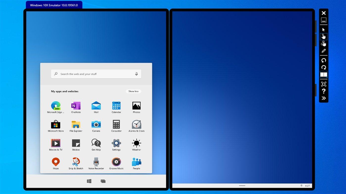 интерфейс эмулятора Windows 10X