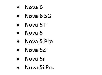 Список смартфонов серии Huawei Nova, которые обновятся до Android 11 и EMUI 11