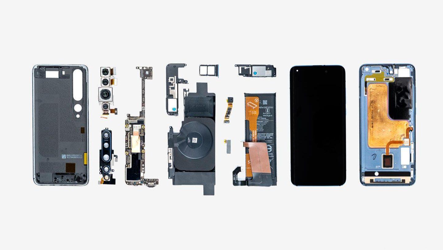 Xiaomi Mi 10 - компоненты внутреннего устройства смартфона