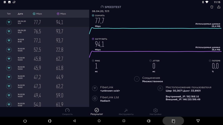 Тест Wi-Fi с частотой 2.4 ГГц и 5 ГГц