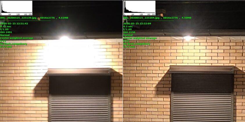 Сравнение ночного режима (справа) и обычного