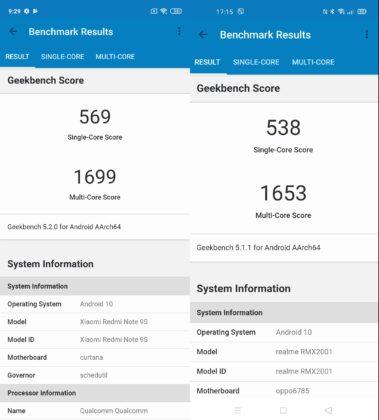 Redmi Note 9s (слева) - Realme 6