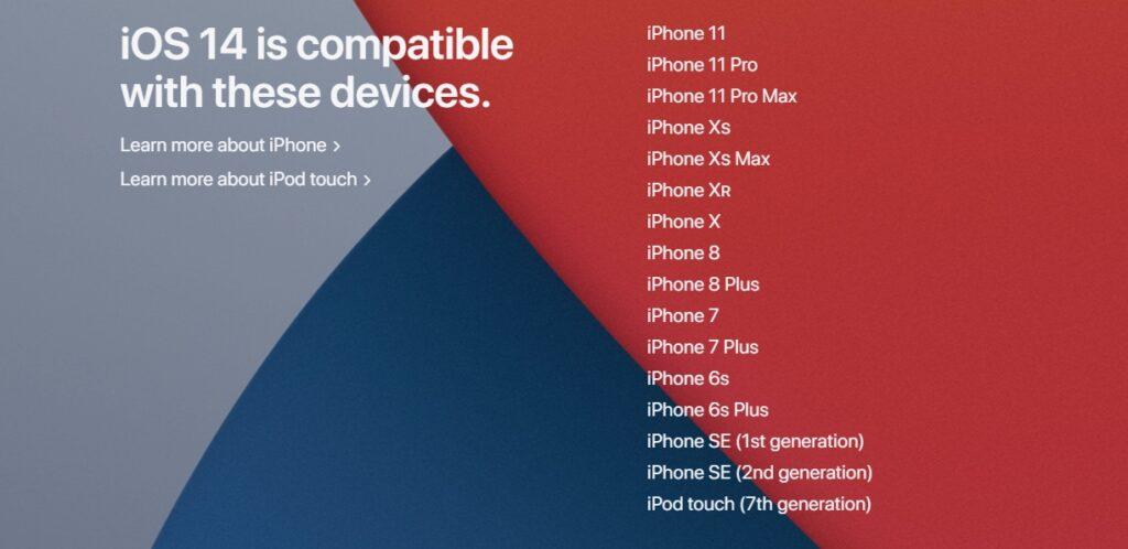 Список смартфонов с iOS 14