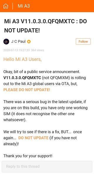 Обновление для Mi A3 за июль