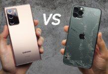 Тест на выживаемость: блогеры сравнили Samsung Galaxy Note 20 Ultra с iPhone 11 Pro Max