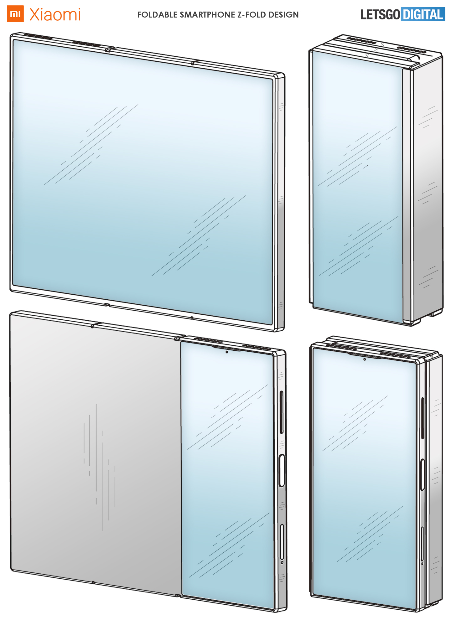 Xiaomi Mi Z Fold: новые изображения сгибающегося в двух местах смартфона