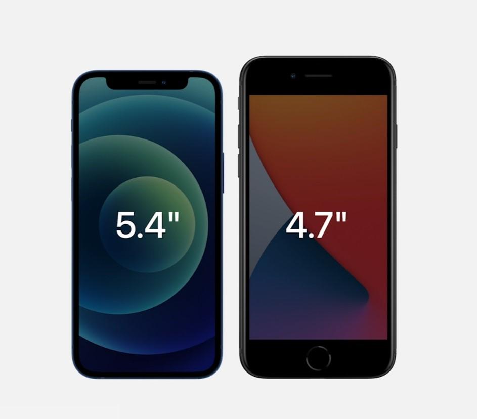 iPhone 12 mini и iPhone SE 2 в наглядном сравнении