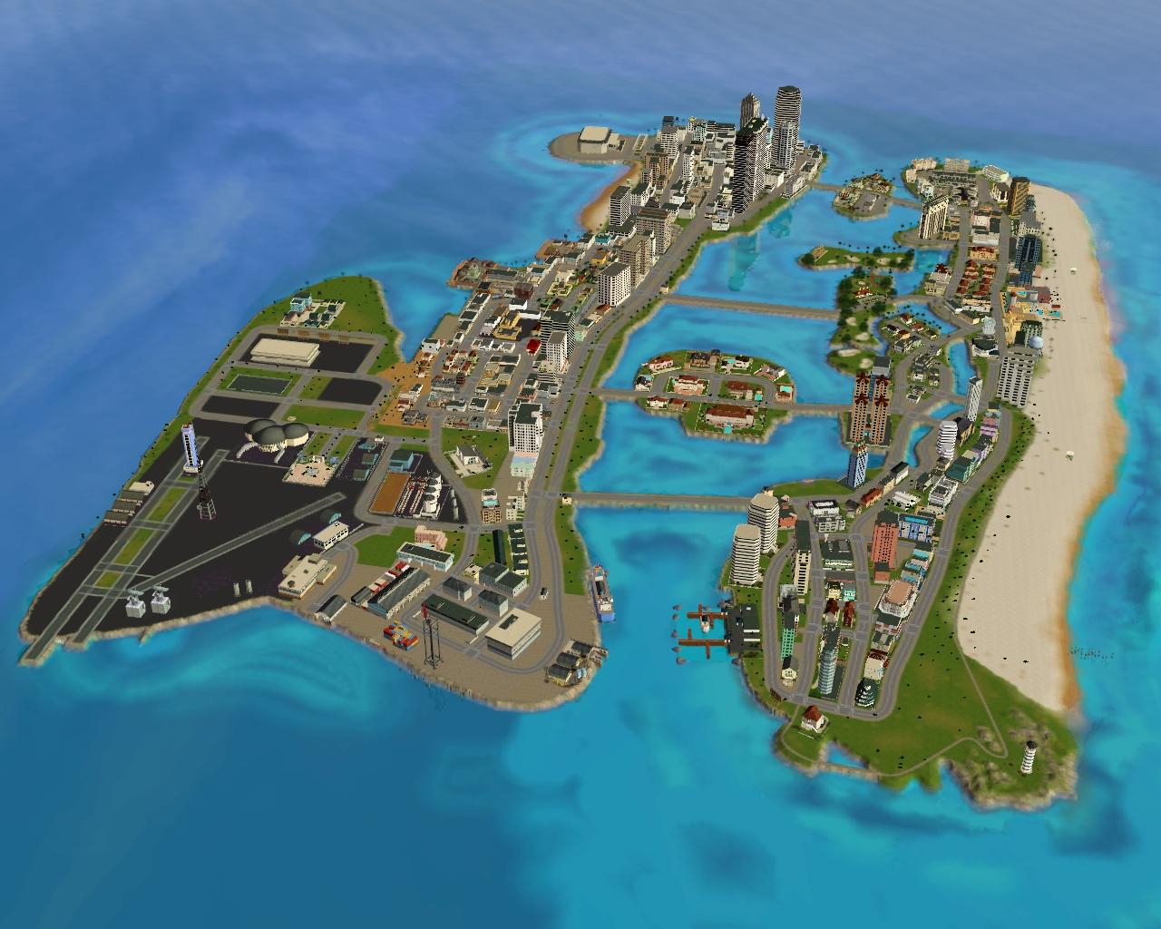 Карта GTA Vice City, прототипом для создания которой послужил город Майами