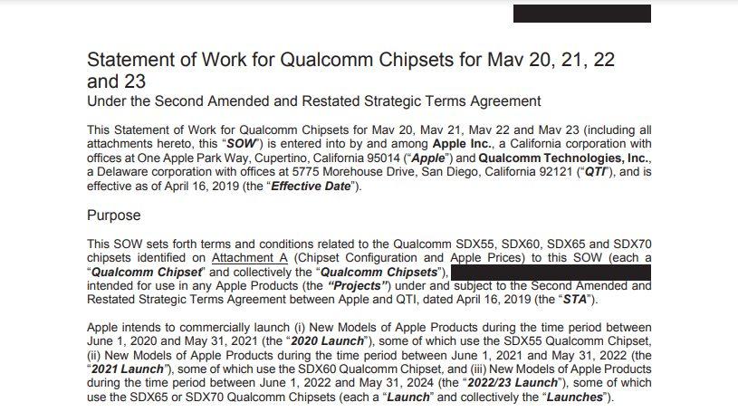 Отрывок из соглашения Apple и Qualcomm насчет поставок 5G-модемов Snapdragon для iPhone текущего и следующих поколений