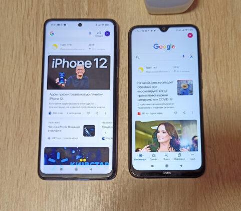 Poco X3 NFC слева и Redmi Note 8 справа
