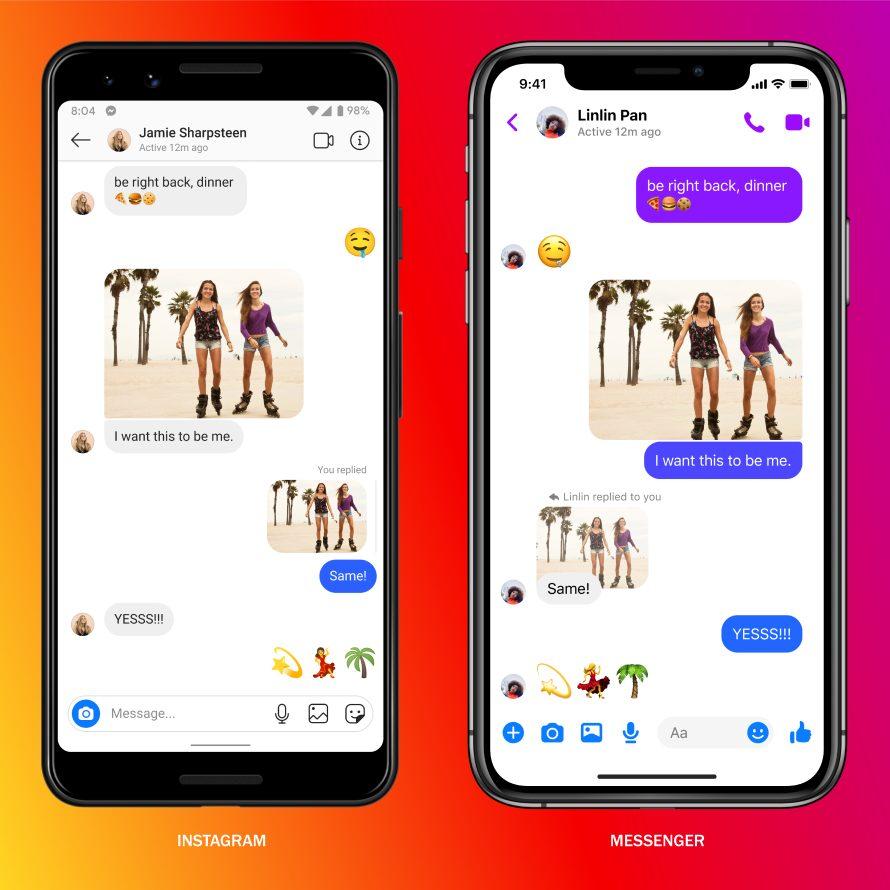 Пользователи Facebook и Instagram теперь могут отсылать сообщения друг другу