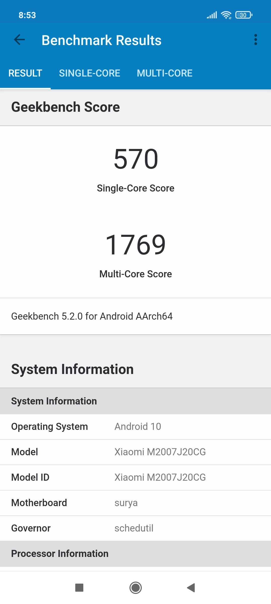 Тест GeekBench - Poco X3 NFC