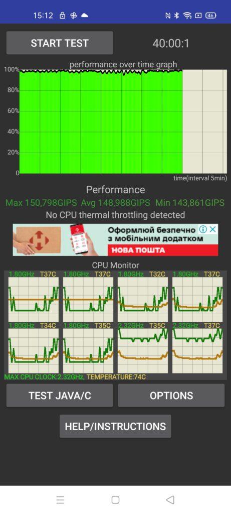 Тест на троттлинг - Realme 7 Pro