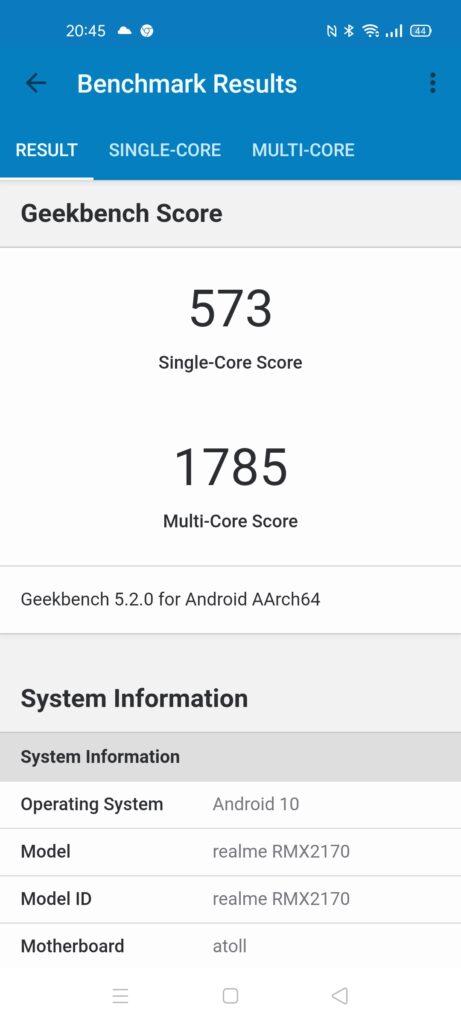 Тест GeekBench - Realme 7 Pro