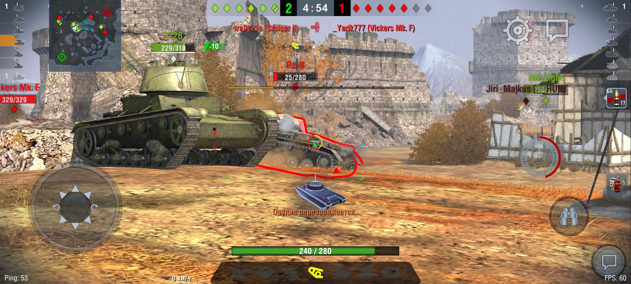 В World of Tanks: Blitz смартфон выдает эталонные 60 FPS