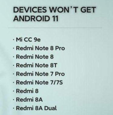 Перечень устройств, которым отказано в получении Android 11