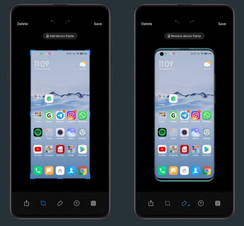 Добавить рамку смартфона к скриншоту вскоре можно будет прямо в MIUI 12