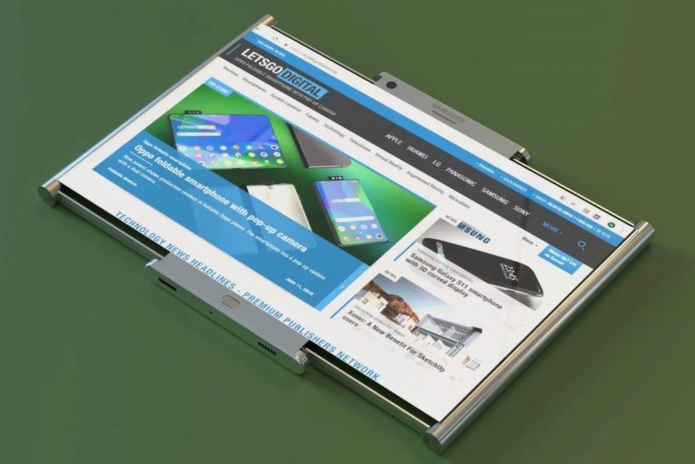 Рендерное изображение смартфона Samsung со сворачивающимся экраном