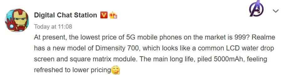 Перспективный телефон Realme с Dimensity 700 может стать самым дешевым смартфоном в сегменте 5G