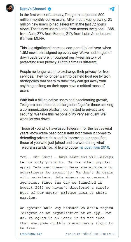 Недальновидные действия американцев принесли Telegram-у десятки миллионов новых пользователей за считанные дни