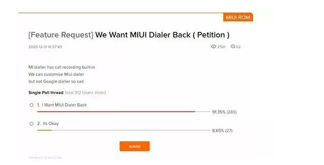 Клиенты Xiaomi требуют возврата звонилки в MIUI 12