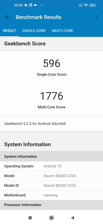 Тест Geekbench - Redmi Note 9T