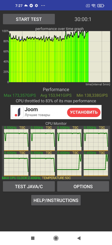 Второй троттлинг тест - Redmi Note 9T