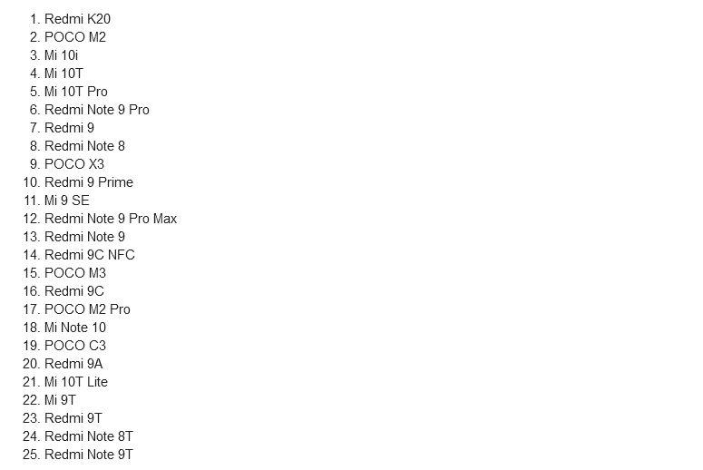 Xiaomi начала тестирование бета-версии MIUI 12.5 на 25-и моделях смартфонов: список