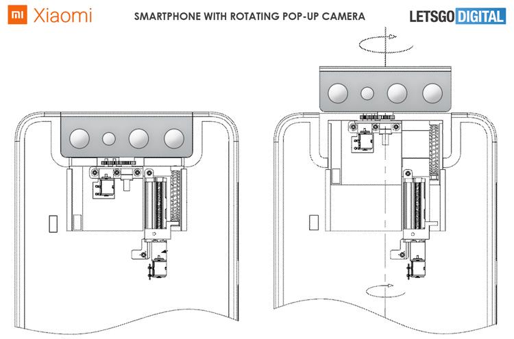 Xiaomi запатентовала телефон с поворотно-выдвижной многомодульной камерой