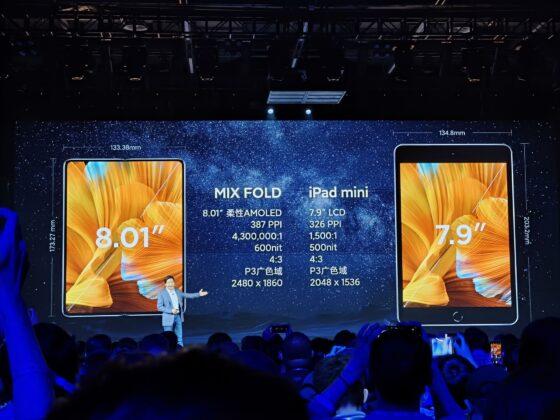 Сравнение Mi MIX Fold и iPad mini.